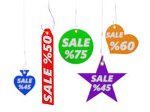 3d illustration of sale tags. Isolated on white Royalty Free Stock Photo