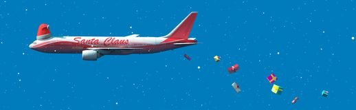 Santa claus airline. 3d illustration of santa claus airline stock illustration