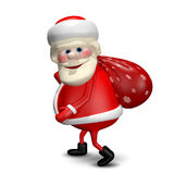 3D Illustration of Santa Claus with a Bag Royalty Free Stock Images