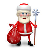 3D Illustration of Santa Claus with a Bag and Staff Royalty Free Stock Image