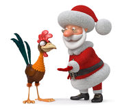 3d illustration Santa Claus and cock Stock Photos