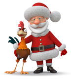 3d illustration Santa Claus and cock Royalty Free Stock Images