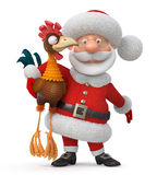 3d illustration Santa Claus and cock Stock Images