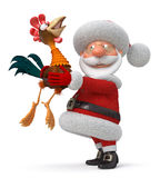 3d illustration Santa Claus and cock Stock Image