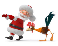 3d illustration Santa Claus and cock Royalty Free Stock Photos