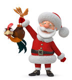 3d illustration Santa Claus and cock Royalty Free Stock Image
