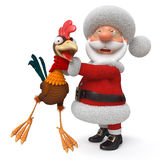 3d illustration Santa Claus and cock Stock Photo