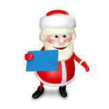 3D Illustration of Santa Claus with Envelope Stock Photo