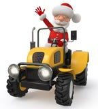 3d Illustration Santa Claus geht auf den Traktor Stock Abbildung