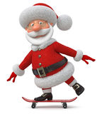 The 3D illustration Santa Claus goes on a skateboard Stock Photography