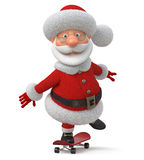 The 3D illustration Santa Claus goes on a skateboard Royalty Free Stock Image