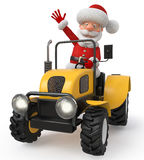 3d illustration Santa Claus goes on the tractor Royalty Free Stock Photography
