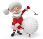 3d illustration Santa Claus golfer