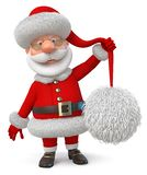 3d illustration Santa Claus i ett lock med en stor pompom stock illustrationer