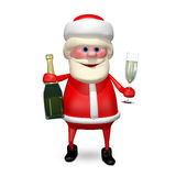 3D illustration Santa Claus med Champagne stock illustrationer