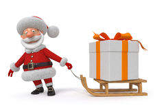 3d illustration Santa Claus med en gåva stock illustrationer
