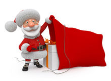 3d illustration Santa Claus med ett fack Vektor Illustrationer