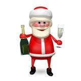 3D Illustration Santa Claus mit Champagne Stock Abbildung
