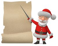 3d Illustration Santa Claus mit dem Plakat Lizenzfreie Stockbilder