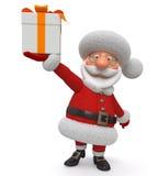 3d Illustration Santa Claus mit einem Geschenk Lizenzfreie Stockfotos