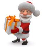3d Illustration Santa Claus mit einem Geschenk Lizenzfreies Stockbild