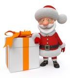 3d Illustration Santa Claus mit einem Geschenk Stockbilder