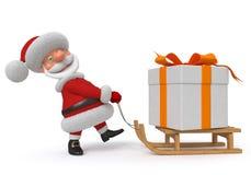3d Illustration Santa Claus mit einem Geschenk Vektor Abbildung