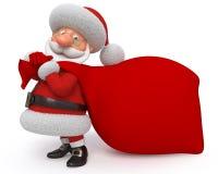 3d Illustration Santa Claus mit einer Tasche Stockfotografie