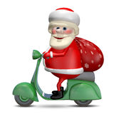3D Illustration of Santa Claus on a Motor Scooter Stock Photos