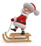 3d Illustration Santa Claus reitet den Schlitten Stockbild