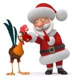 3d Illustration Santa Claus und Hahn Lizenzfreies Stockbild