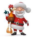 3d Illustration Santa Claus und Hahn Stockbilder