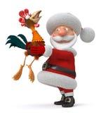3d Illustration Santa Claus und Hahn Stockbild