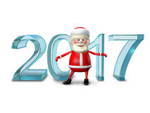 3D Illustration of Santa and the Ice Figures Stock Photo