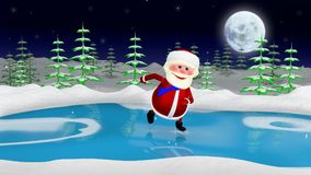3D  Illustration  Santa on the Skates. In the Forest Stock Photo