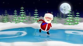 3D  Illustration  Santa on the Skates. 3D  Illustration  a Santa on the Skates in the Forest Royalty Free Stock Images