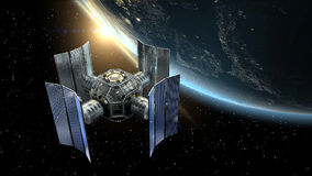 3D Illustration of a satellite or spacelab surveying Earth. Stock Image