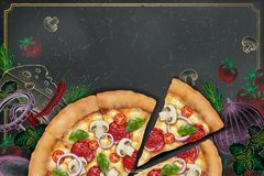 Savoury pizza ads. 3d illustration savoury pizza with rich toppings on engraved style chalk doodle background, copy space for slogan royalty free illustration