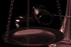3d illustration scales and judges gavel close Stock Photography