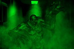 Scary Monster. 3d illustration of scary monster in haunted house,mixed media Stock Images