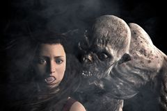 Monster Attack To Woman In The Dark. 3d illustration of Scary monster out from the dark and attack a woman,Hard light style vector illustration