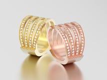 3D Illustration Schaftdiamant Rin des zwei rosafarbenes und gelbes Gold vier Lizenzfreie Stockfotografie
