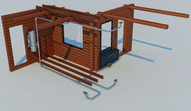 3D illustration of the scheme of the device of the built-in vacu Royalty Free Stock Images