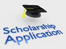Scholarship Application concept. 3D illustration of Scholarship Application script under a graduation hat Stock Photography