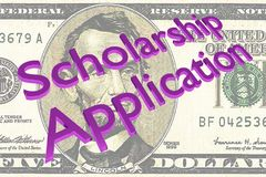 Scholarship Application concept. 3D illustration of Scholarship Application title on Five Dollars bill as a background Stock Images