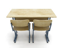 3d illustration school desk with two chairs Stock Image
