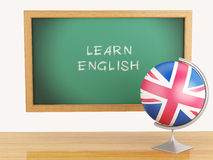 3d illustration. School education concept. Blackboard with learn Stock Images