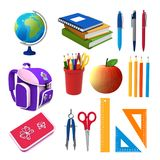 3d illustration of school objects. Globe, notebooks, pencils, briefcase, scissors, rulers. Isolated. 3d illustration of school objects. Globe, notebooks, pencils Royalty Free Stock Image