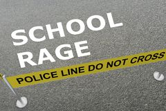 SCHOOL RAGE concept. 3D illustration of SCHOOL RAGE title on the ground in a police arena Stock Photos
