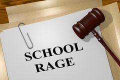 SCHOOL RAGE concept. 3D illustration of SCHOOL RAGE title on legal document Stock Image